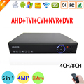 Blue-ray 1080N Hi3520D 1080 P Cámara de Vigilancia 8 Canales 8CH 5 en 1 Coaxial Híbrida IP NVR CVI TVI AHD DVR FreeShipping