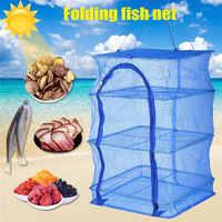 Recém 4 Camadas de Secagem Dobrável Rede de Pesca Rede De Pesca PE Cabide Pendurado Rack de Secador de Vegetais Pratos de Peixe Peixe Net YA88