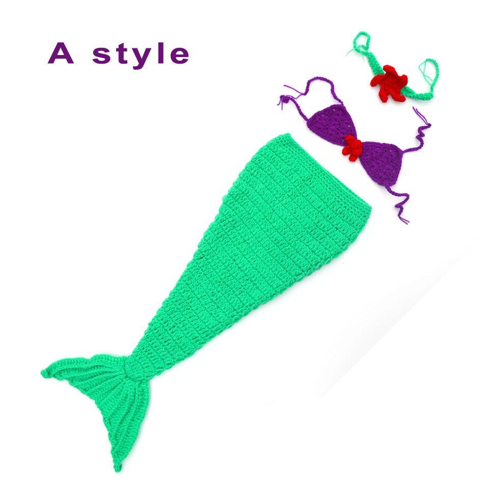Niña Sirena Traje Infantil Del Bebé Trajes de Ganchillo Mermaid Tail ...