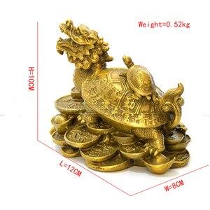 Image 3 - סין Fengshui פליז הדרקון צב צב עושר מזל פסל מתכת מלאכות פנג שואי מתנת קישוטי מתכת מלאכת יד