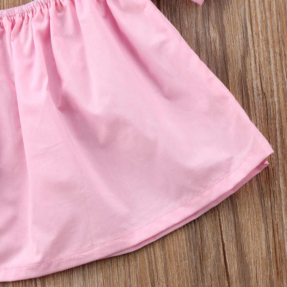 2018 新生児幼児女の赤ちゃんオフショルダーソリッドピンク白黒作物 Tシャツブラウスかわいい夏