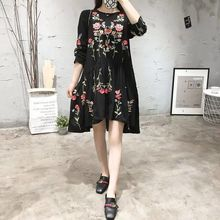 2017 women vintage long sleeve flower floral embroidery black dress elegant vestidos casual loose round collar ruffle dresses