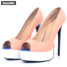 jialuowei Women Pumps 16CM Super High Heel Platform Peep Toe Sexy Patent Leather 2018 Fashion Women Party Wedding Dress Shoes цена и фото