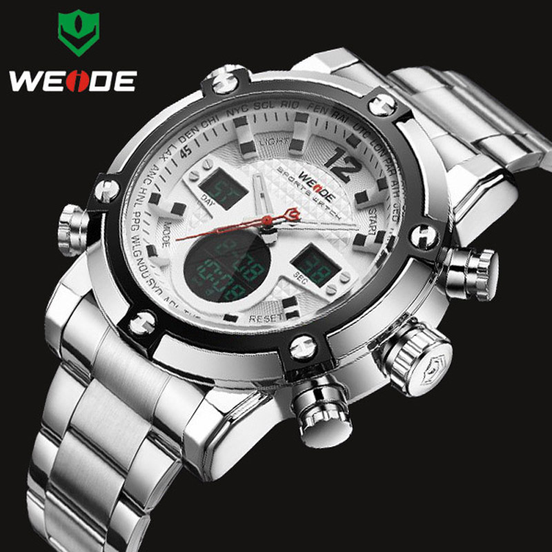 WEIDE Brand Luxury Top Men Watches Men's Quartz Analog Digital LED Sport Watch Men Army Military Wrist Watch Relogio Masculino weide army watches men s steel business luxury brand quartz military sport watch analog digital display wristwatch sale items
