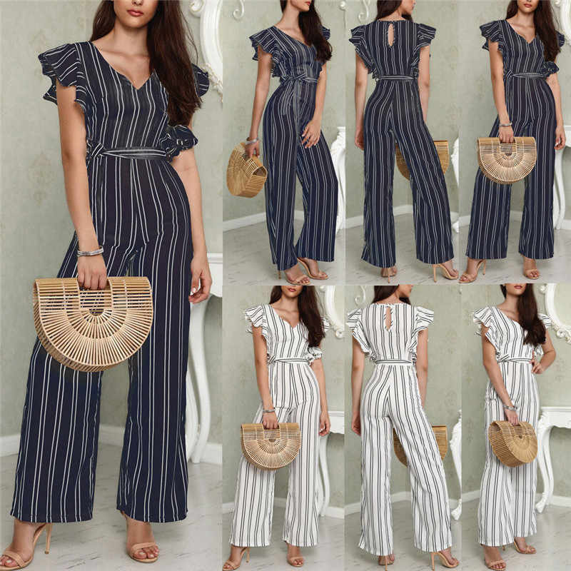Fashion Sexy New 2018 Fashion Striped Jumpsuits High Waist V Neck Wide Leg Pants Female Spring Summer Women Sashes Jumpsuits