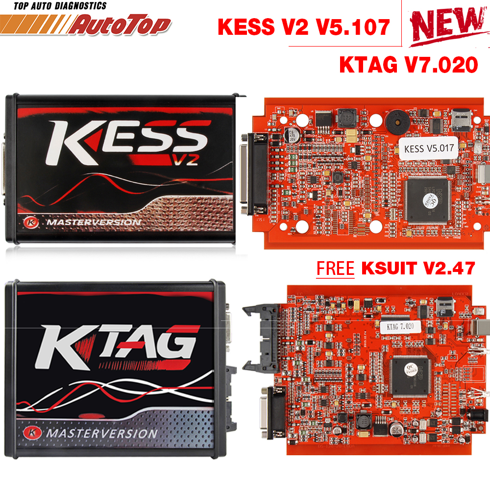 2018 Kess V2 V5 017 OBD2 Manager Tuning Kit KTAG V7 020 4 LED Kess