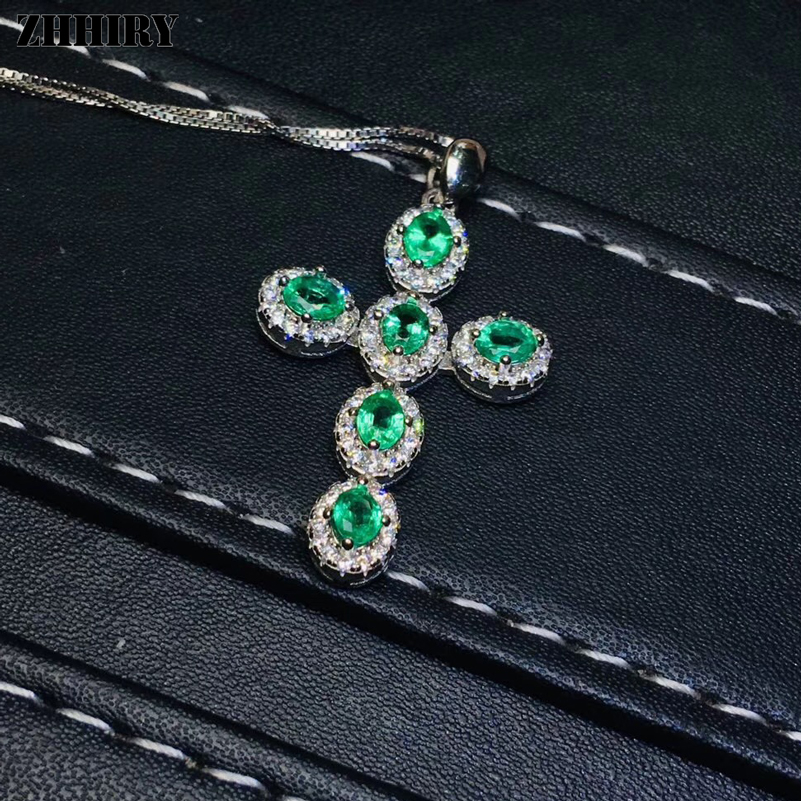 ZHHIRY Real Natural Emerald Gemstone Necklace Pendant Genuine 925 Sterling Silver Cross Shape Pendants Fine Jewelry
