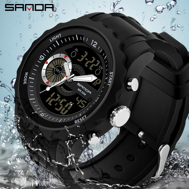 цены New Fashion Style Analog Quartz Watch Men Sport Military Watches Men's Waterproof 30M LED Digital Wristwatch Relogio Masculino