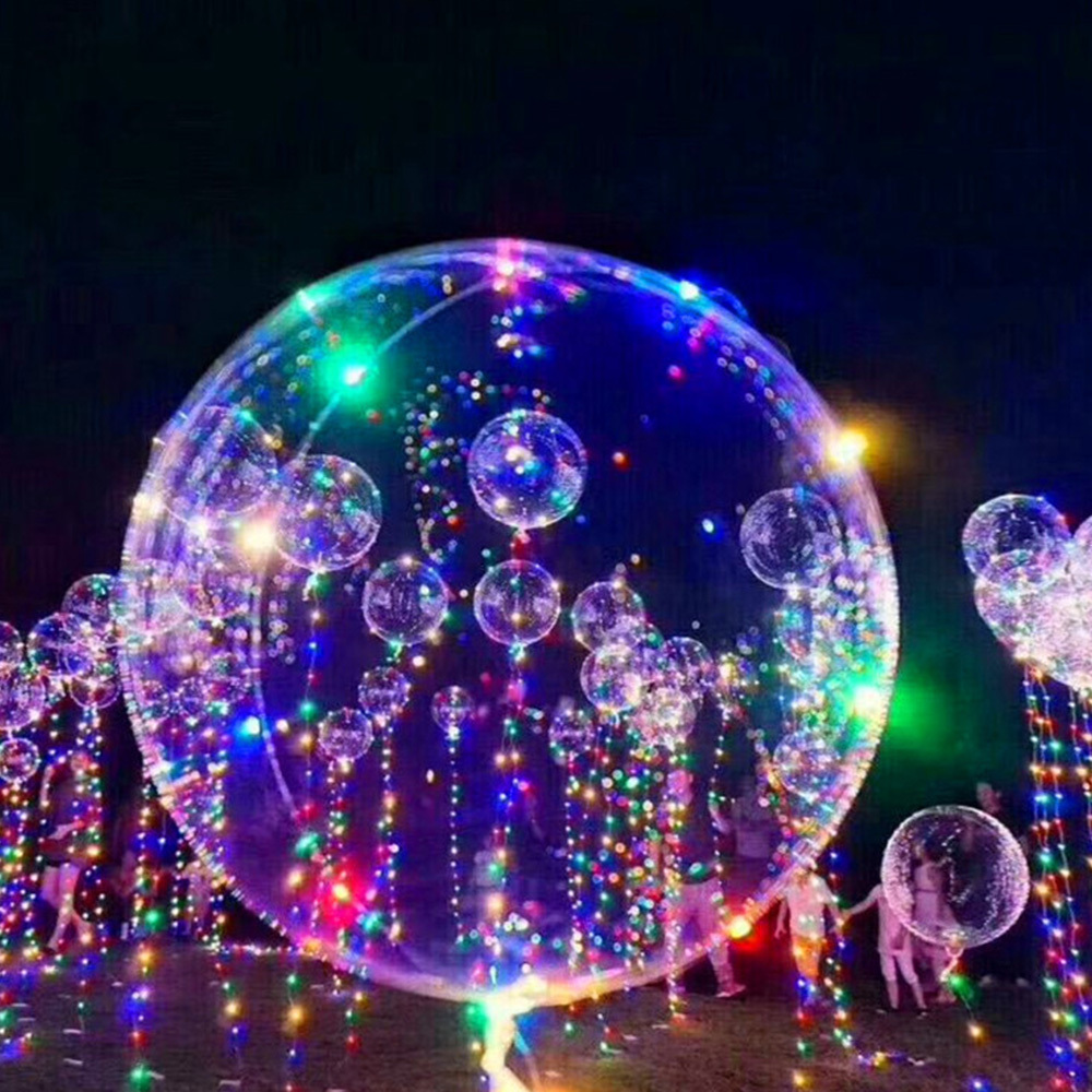 Funny Luminous Toys Kids Baby LED Balloon Transparent Glowing Balloon String Lights Helium Balloons For Party Wedding Christmas