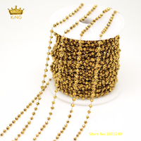 5Meters 2x3mm Cut Rondelle Glass Chains Charms,Faceted Glass Titanium Gold Glass Plated Brass Copper Links Chains Jewelry ZJ110