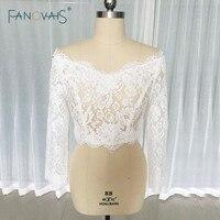 Wedding Ivory / White Lace Party Coats Boleros Shrug Bridal Jackets Long Sleeves Wedding Wraps Custom Made ASWP20