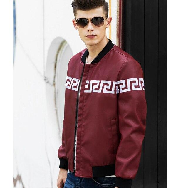Letter Printing Leather Jacket Men 2017 Spring Casual Coat Men Bomber Jacket Collar Black Man Coat Plus Size XXXL