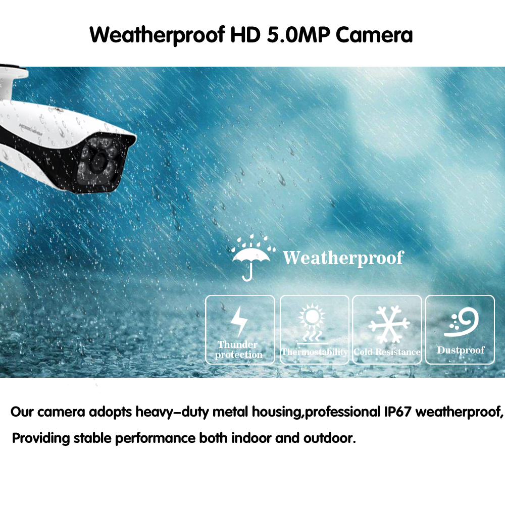 HD 5MP H.265 Video Surveillance 8 Cameras Security Camera Set For CCTV indoor Outdoor Security Camera System AHD Camera DVR P2P