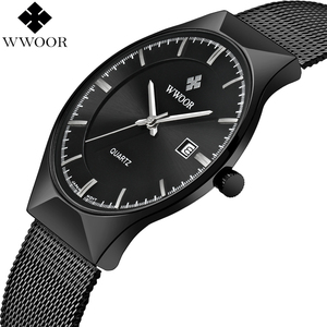 Image 1 - Men Watches Top Brand Luxury WWOOR Simple Slim Date Quartz Watch Men Wristwatch Business 블랙메쉬 남성 Watch Relogio Masculino