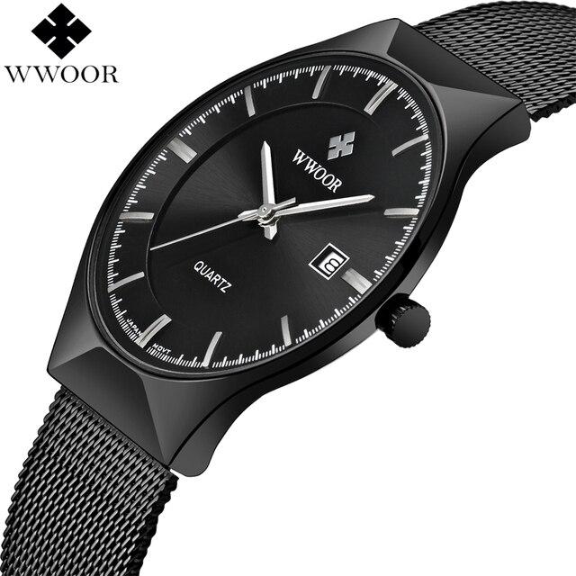 Men Watches Top Brand Luxury WWOOR Simple Slim Date Quartz Watch Men Wristwatch Business 블랙메쉬 남성 Watch Relogio Masculino