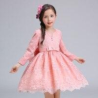 12 Años Otoño Flores Niñas Vestido de Manga Larga de La Princesa Fiesta de Cumpleaños Vestidos Girl Costume Kids Pink Acanalada Vestido de cola de Milano