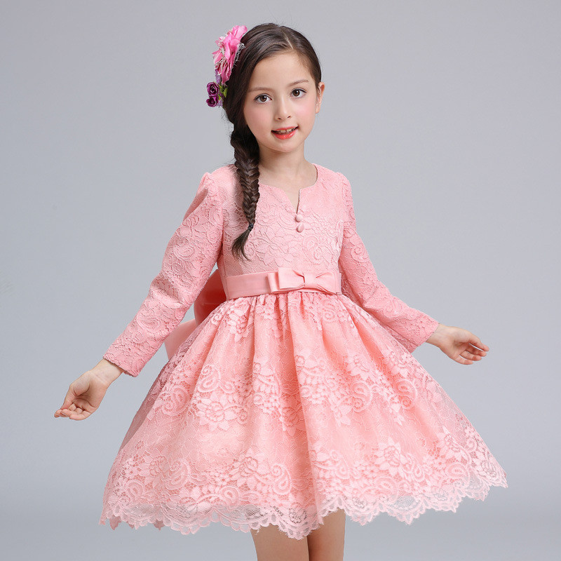 12 Years Autumn Flowers Girls Dress Long Sleeve Princess Party Birthday Dovetail Dresses Girl Costume Kids Pink Ruched Vestido fashion 2016 new autumn girls dress cartoon kids dresses long sleeve princess girl clothes for 2 7y children party striped dress