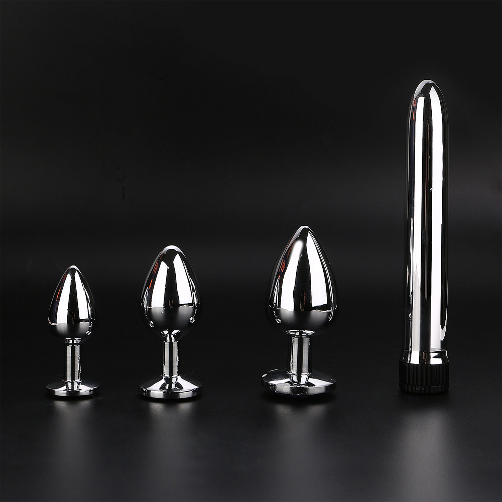 Stainless steel metal anal plug sex vibrator 4pcs/set strong vibrator sex toys for woman anal plug set large size plug butt yema 3 pcs set stainless steel big anal plug butt plug metal anal