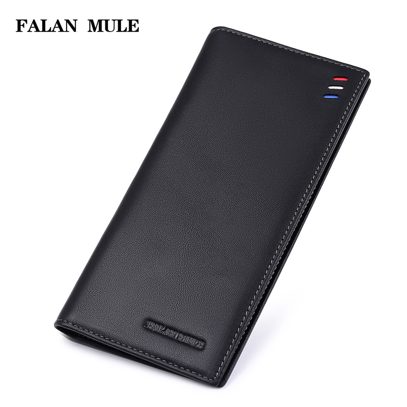 FALAN MULE 2017 New Fashion Ultra-thin Men Wallets Genuine Leather Purse Men Luxury Brand Wallet Male Clutch Card Holder Bag 2016 purse famous brand zipper wallets genuine leather bag wallet male purse card case men and ultra thin carteira