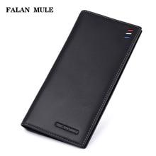 FALAN MULE 2017 New Fashion Ultra-thin Men Wallets Genuine Leather Purse Men Luxury Brand Wallet Male Clutch Card Holder Bag