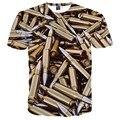 Hip Hop T shirt Homens Verão Encabeça Impressão Tshirt 3d Balas Das Camisas Das Camisetas de Manga Curta T-shirt Da Forma