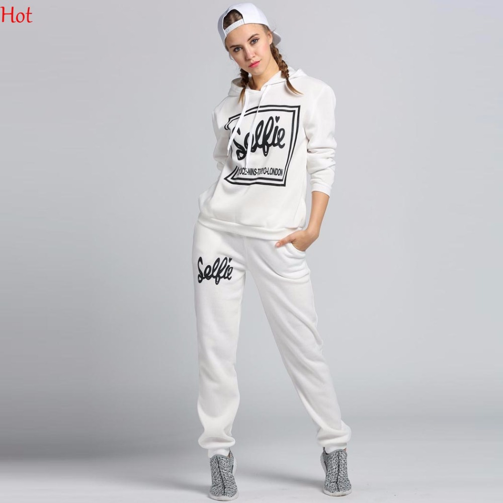 Ladies Women Sweatshirts Letters Printed Casual Long Sleeve Hoodie Pattern Top Hooded Pullover Sweat Pant 2Pcs Sets LP000056