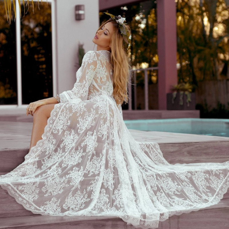 <font><b>Fashion</b></font> 2019 Swim Long Maxi <font><b>Dress</b></font> New <font><b>Beach</b></font> Wear <font><b>Women</b></font> Cover Up <font><b>Summer</b></font> Boho Swimsuit Cover Up <font><b>Sexy</b></font> Lace Hollow Out <font><b>Beach</b></font> <font><b>Dress</b></font> image