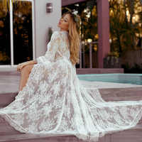 Fashion 2019 Swim Long Maxi Dress New Beach Wear Women Cover Up Summer Boho Swimsuit Cover Up Sexy Lace Hollow Out Beach Dress