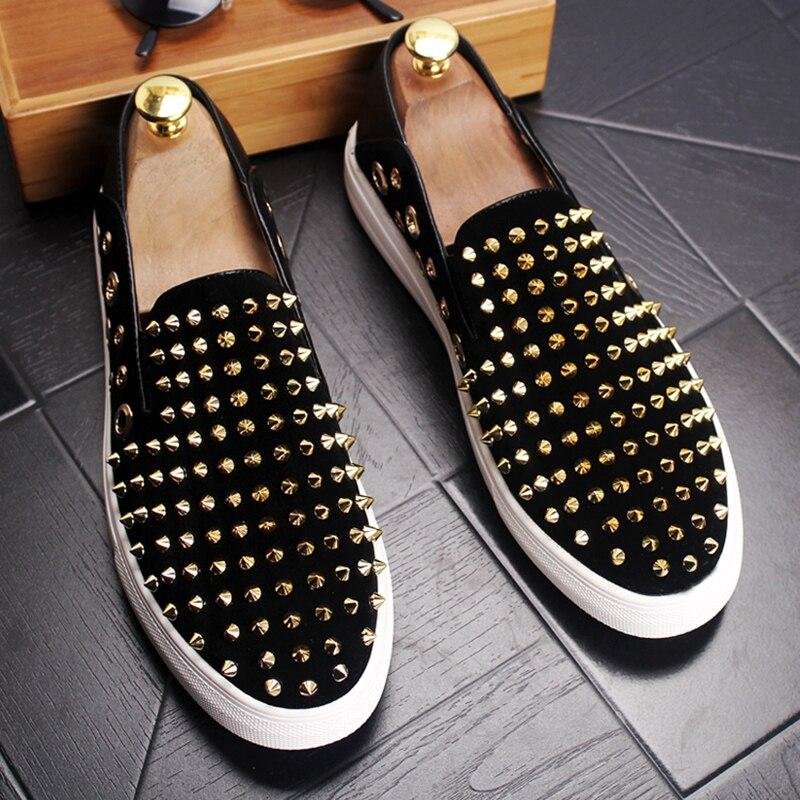 Hommes mode fête discothèque robe en cuir véritable chaussures sans lacet rivet chaussure été respirant fumeur pantoufle homme mocassin sapatos