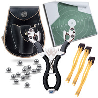 Powerful 5 in 1 Hunting Slingshot Catapult+Genuine Leather Ammo Pouch Bag Case+Slingshot pouch+Ammo Balls+Target Sheet