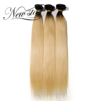 NEW STAR 10'' 30'' 3 Pieces Straight Bundles 1B/613 Black Root Blonde Ombre Human Hair Extension Remy Hair Weave Salon Supplies