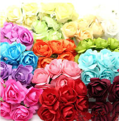 17 Colors For Selection!! 144 bunches=864pcs miniature  paper rose ,craft supplies, for scrapbook ,card making(Free Shipping )