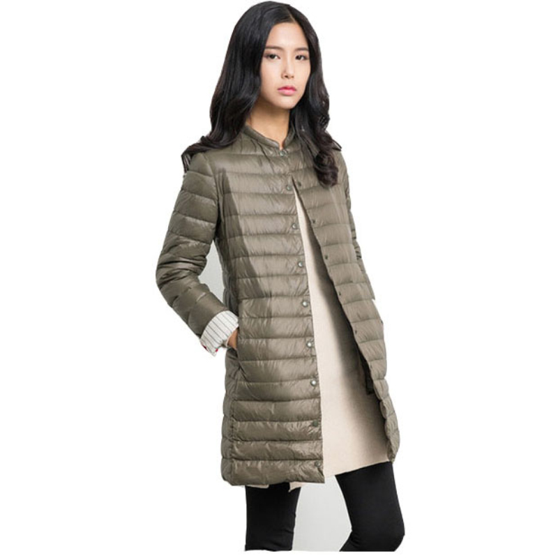 Jacket Women 2017 Winter Autumn Ultralight White Cotton Coat Long Casual Thin Parka Fur Padded Coat Feminina DP015
