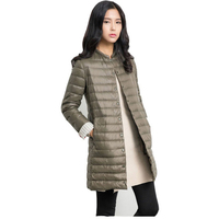 Autumn Women Long Jackets Coats Collarless Long Sleeve Single Breasted Solid Color Padded Coat For Women
