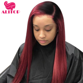 ALITOP Hair Brazilian Straight Hair 1B 99J Lace Frontal Wig Ombre Red 13x6 Virgin Lace Front Human Hair Wigs For Black Woman