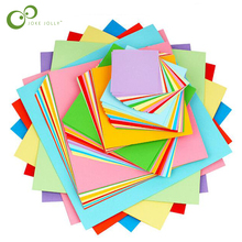 100 шт. квадратная бумага Оригами для детей DIY Ручная работа двухсторонняя цветная сложенная бумага для скрапбукинга материал искусства WYQ
