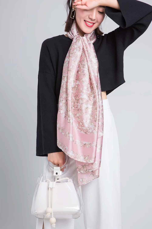 2018 Primavera Outono Moda Natural Silk Scarf Mulheres Marca De Luxo De Seda Foulard Bufanda Mujer Senhoras Mina Floral Xales e Wraps