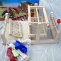 As Crianças Brincam de Brinquedo DIY Mini Madeira Brocaded Enginery Tear Máquina de Decoração Para Casa Como Pano Vêm
