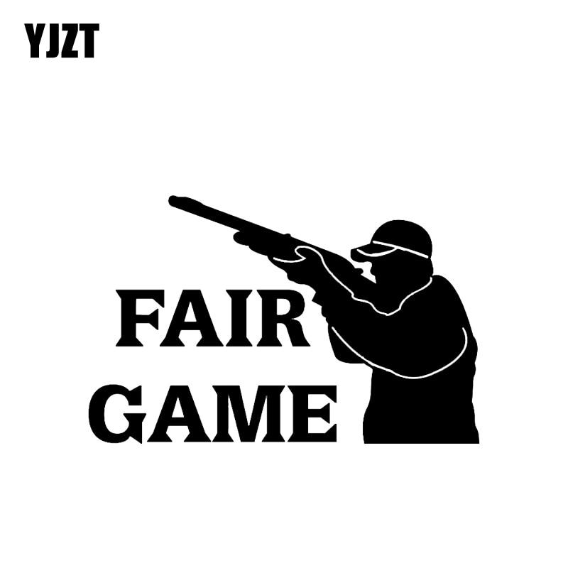 YJZT 15.1*9.7CM Cartoon Interesting FAIR GAME Gun Graphic Car Sticker Vinyl Decoration C12-0359