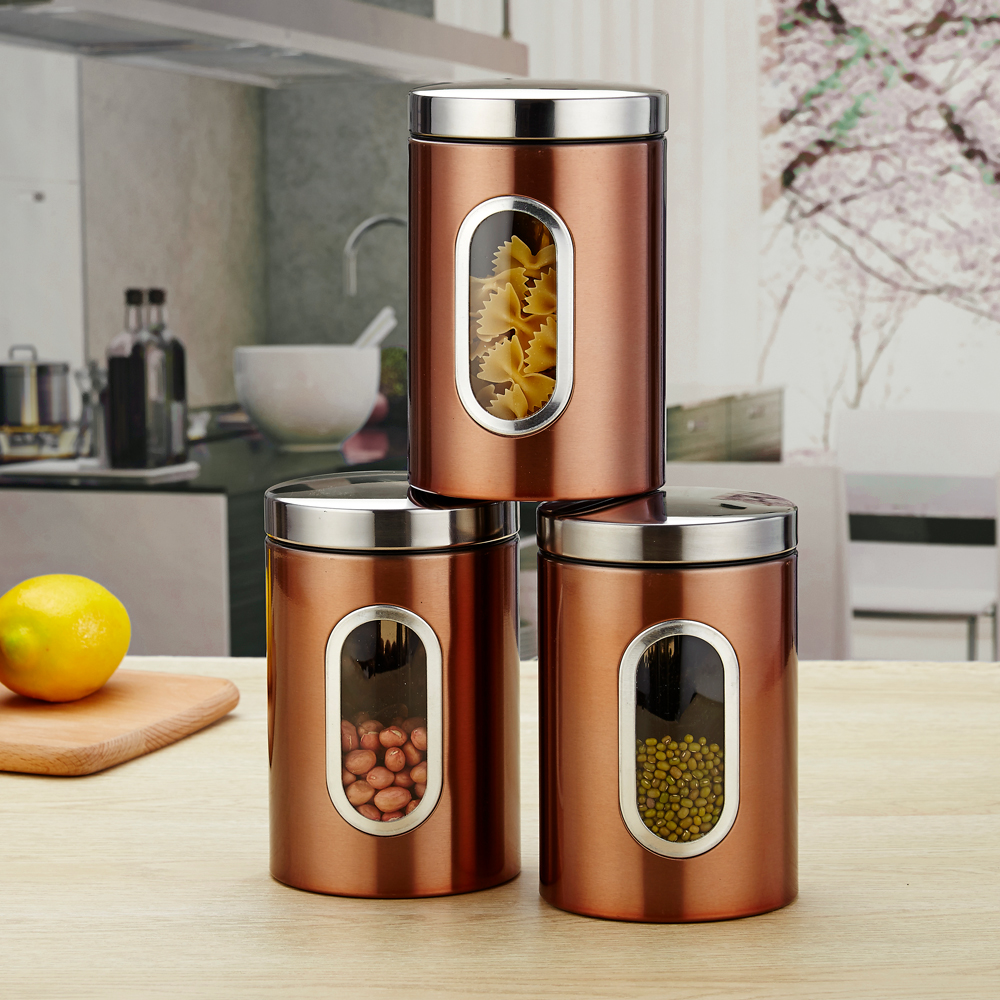 3pcs Per Set Kitchen Container Set and Food Storage Box with Transparent View Window