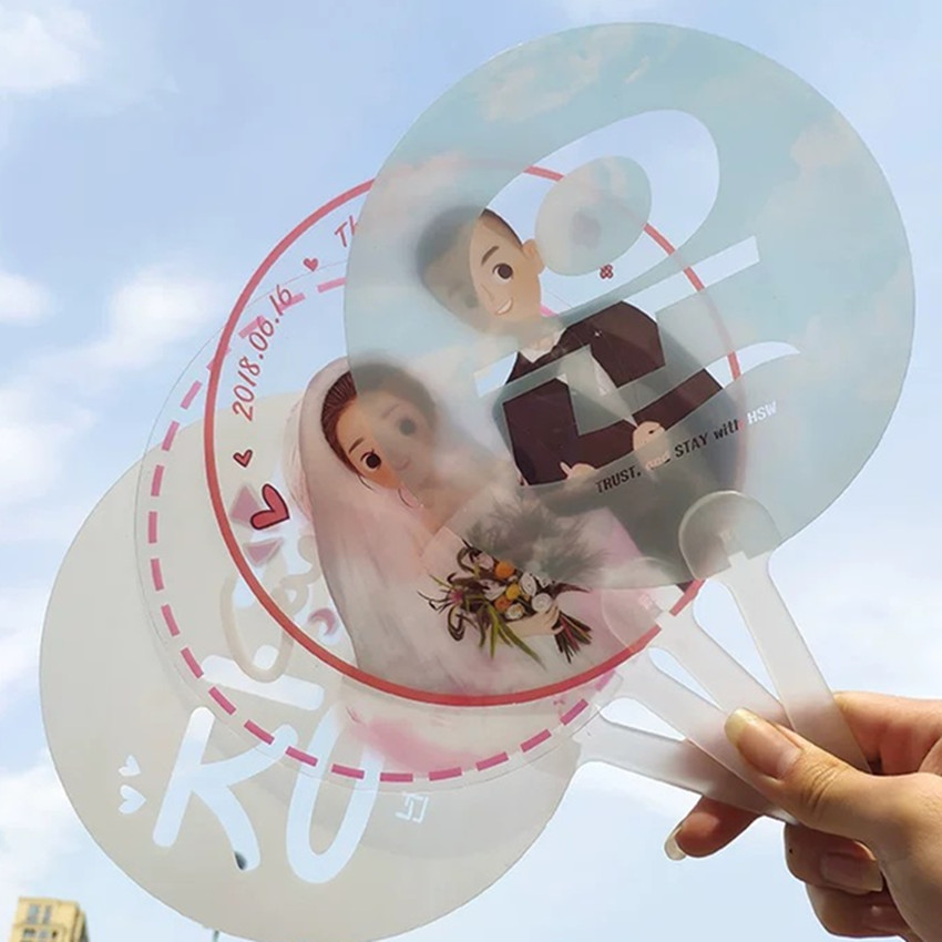 Customized Logo Printing 500pcs lot Advertising Transparent Plastic Hand Fan for Promotion Cool PP Hand fan