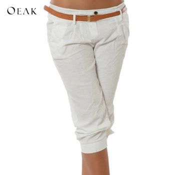 OEAK Women's Fashion Cotton Linen Short Pants Capris Casual Loose Solid Elastic Waist Female Pants Plus Size Sweatpants Trousers