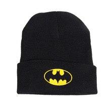 Новинка Зимняя Шапка Мягкие Удобные Акриловые Вянут Шляпы Бэтмен Логотип Вышивка Женщина Шляпы