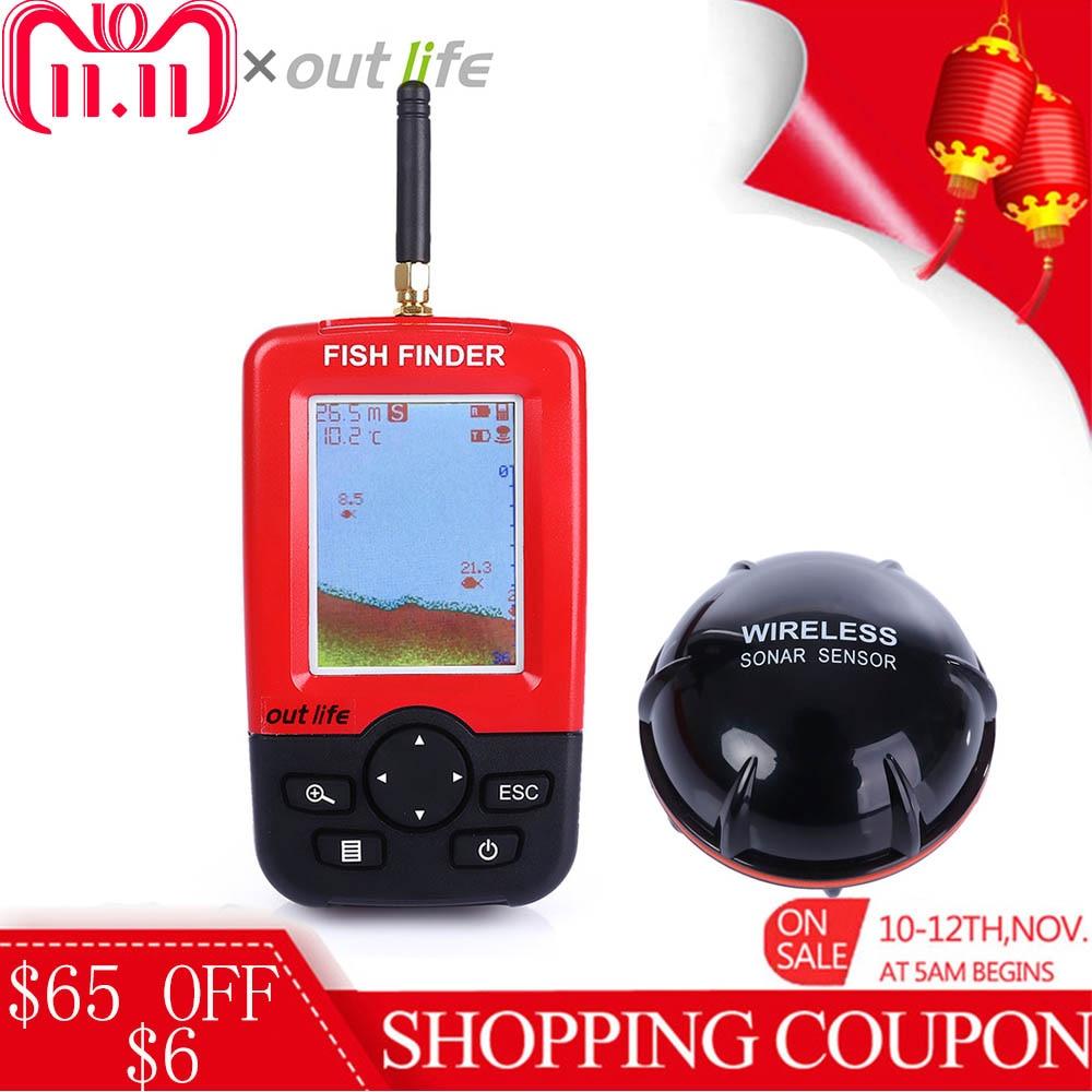 Outlife 100 m 125 khz Portable Fish Finder Con Sonar Sensor Ecoscandaglio A Distanza Senza Fili Lago Mare Smart Cercatore di Pesca fishfinder