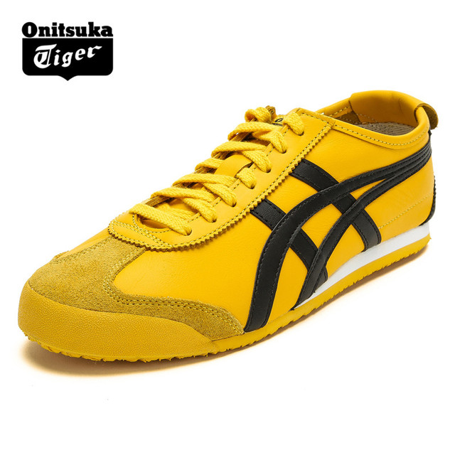 best authentic e9b66 de878 US $125.39 |Authentic ONITSUKA TIGER MEXICO 66 Men Women Shoes Leather Hard  Wearing Street Low Student Yellow Sneakers Badminton Shoes -in Badminton ...