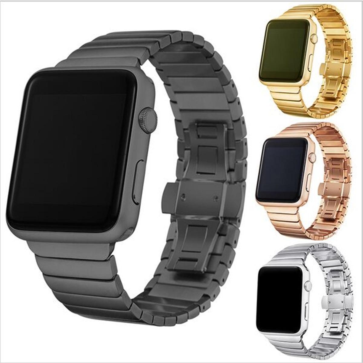 Luxus armband metall straps Für Apple uhrenarmband 42mm edelstahl Link armband 38mm schmetterling schleife schwarz gold silber