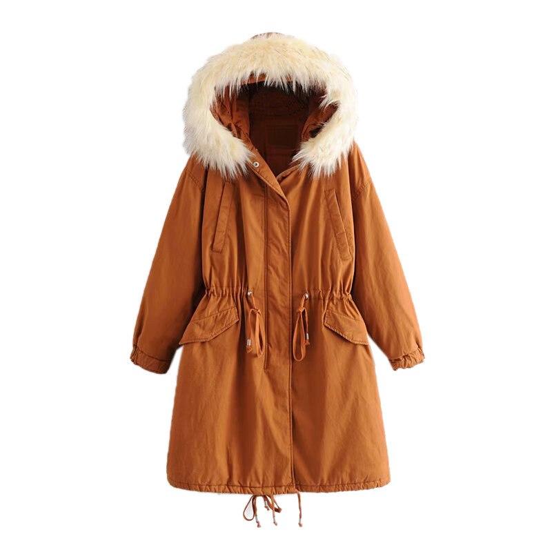 Orange Longue Chaud De Longues Coton À En Outillage Mode Manches Capuchon Hiver Manteau Lâche Femmes Section I6fvY7gby