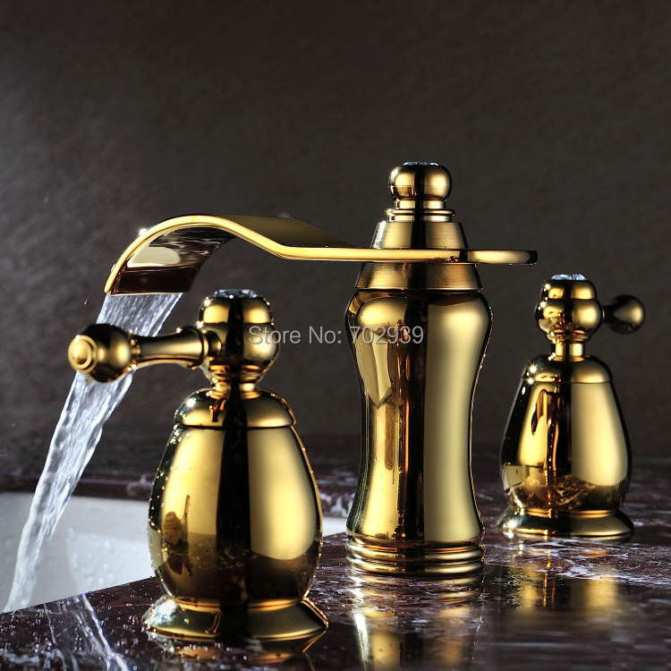 Gold clour 8 inch widespread 3 pieces bathroom Lavatory ...