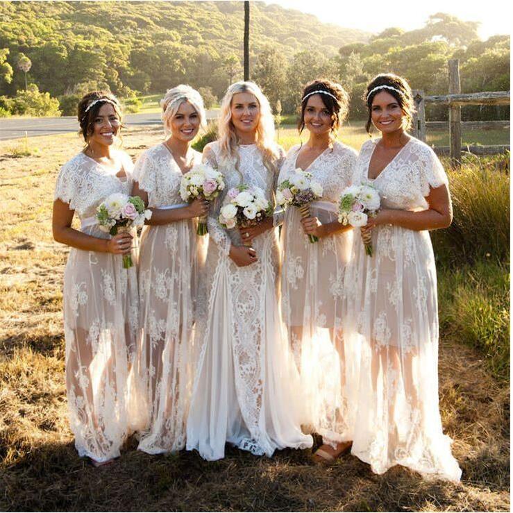 Lace Bohemian Bridesmaid Dresses Promotion-Shop for Promotional ...