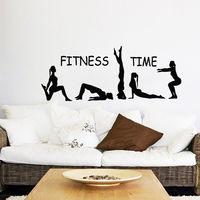 Fitness Time Wall Decal Sport Girls Gymnast Yoga Vinyl Stickers Gym Decor